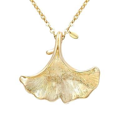 Amazoncom SENFAI Ginkgo Leaf Charm Pendant Necklace Vintage Trendy