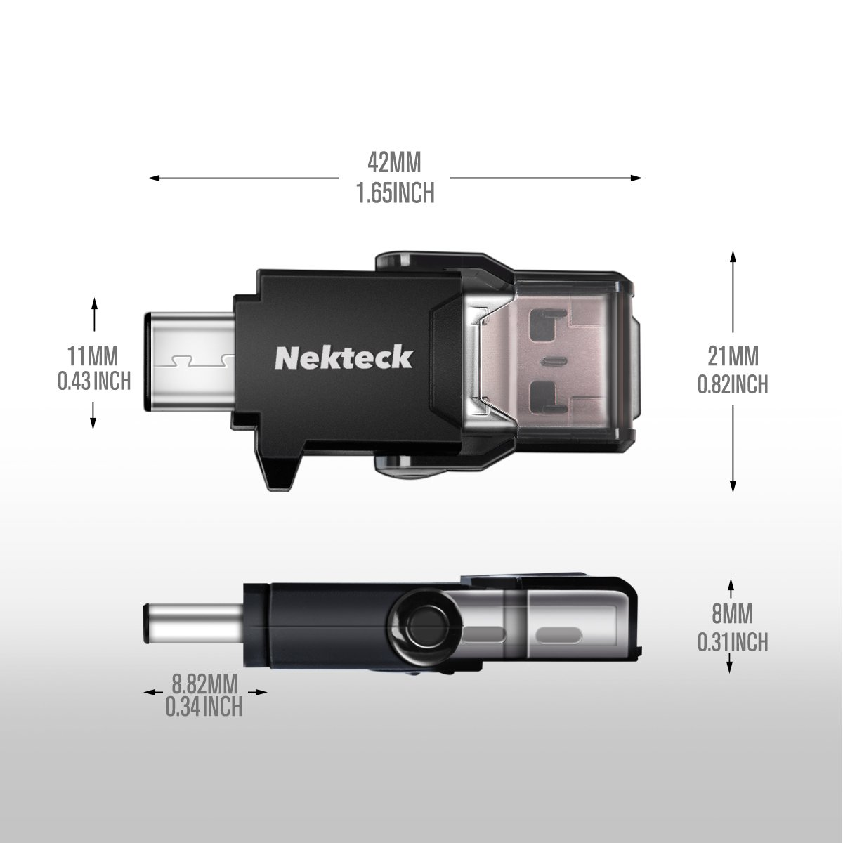 Nekteck USB Type C OTG Micro SD Card Reader with Additional Standard USB Port Connector (Micro SD Card is NOT Included) Samsung Galaxy Note 8 / S8/ S8 Plus, S9/ S9 Plus Pixel 2 More by Nekteck (Image #8)