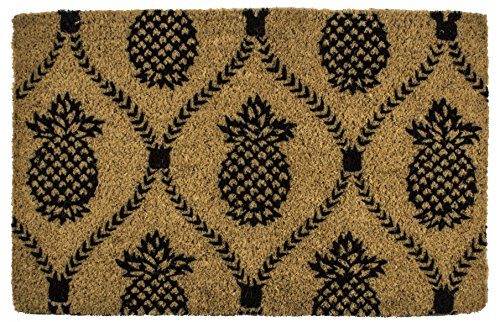 Entryways 9103W Pineapple Hand-Stenciled, All-Natural Coconut Fiber Coir Doormat 22