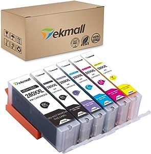 Tekmall PGI-280XXL CLI-281XXL PGI 280 CLI 281 Compatible Canon Ink Cartridges, Work with Pixma TS8120 TS8220 TS9120 6 Pack(1PGBK,1BK,1C,1M,1Y,1PB)