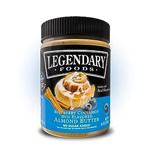 Legendary Foods Almond Butter   Keto Diet Friendly, Low Carb, No Sugar Added, Vegan   Blueberry Cinnamon Bun (16oz Jar)