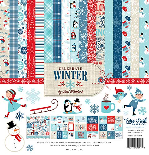 Echo Park Paper Company CW162016 Celebrate Winter Collection Kit Paper, red, Blue, Navy, Green, White