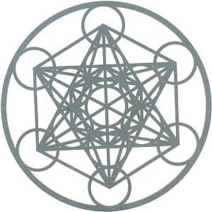 Choupee Metatron's Cube Crystal Grid – Sacred Geometry Wall Art & Home Decor – Wooden Wall Sculpture, Meditation & Energy Balance – Poplar Wood – for Office, Yoga Studio (Grey, 11.5 Inch (29CM))