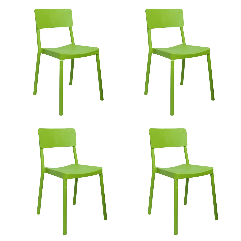 Cello Eskimo Cafeteria Set of 4 Chairs (Green)