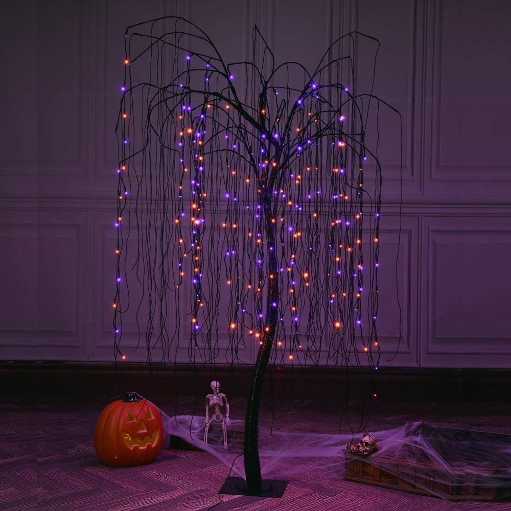 LIGHTSHARE 7 Feet Halloween Willow Tree, 256 LED Lights for Home, Festival, Nativity,Party, and Christmas Decoration,Includes Spiders and White Cobweb,Indoor Outdoor Use,Orange & Purple