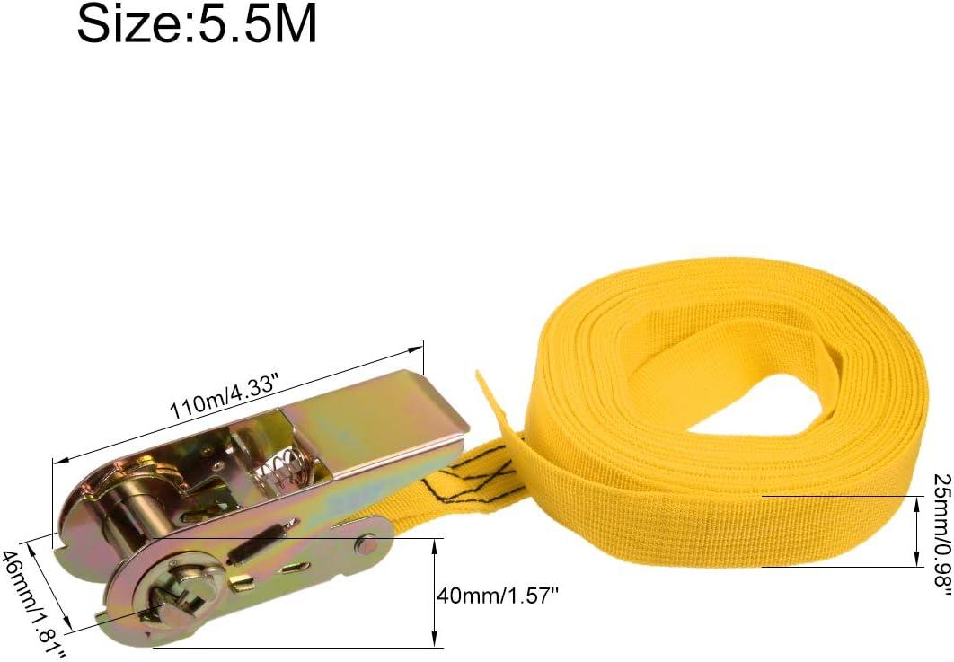 sourcing map 2stk Orange 8M x 25mm Ratsche Festbinden Verzurrgurt Frachtgurt 250Kg Arbeitslast