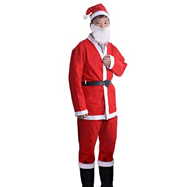 Amazon.com: OULII Santa Claus Costume Adult Santa Suit with ...