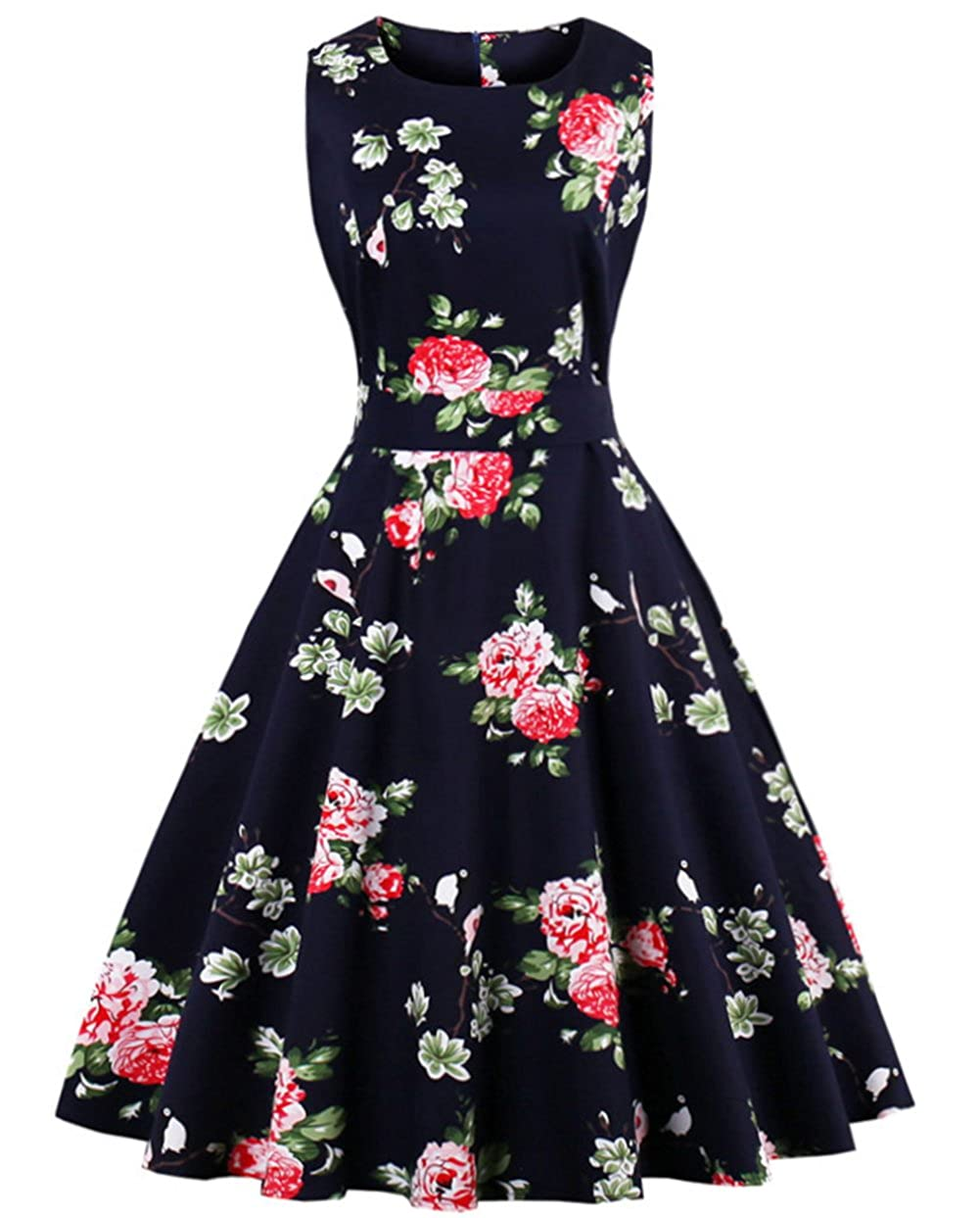 TALLA S. FAIRY COUPLE 50s Vestido de Partido Floral Retro del Oscilación del Cóctel del Vintage con el Arco DRT017 Negro Floral S