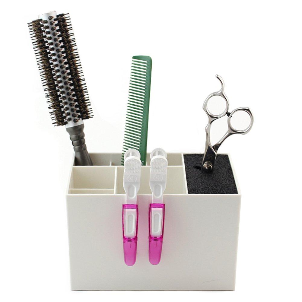 Olpchee Professional Salon Scissors Rack Holder Hairdresser Scissors Combs Clips Organizer Box for Hair Stylist Desk Organizer