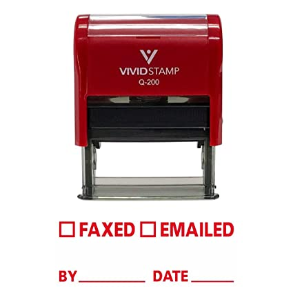 Amazon FAXED EMAILED By Date Self Inking Rubber Stamp Red Ink
