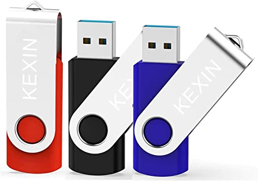 KEXIN 64GB Memoria USB 3.0 Pendrive 64GB Flash Drive Memory Stick para Computadoras, Tabletas y Otros Dispositivos [3 Unidades ] Color de Azul, Rojo, Negro: Amazon.es: Informática