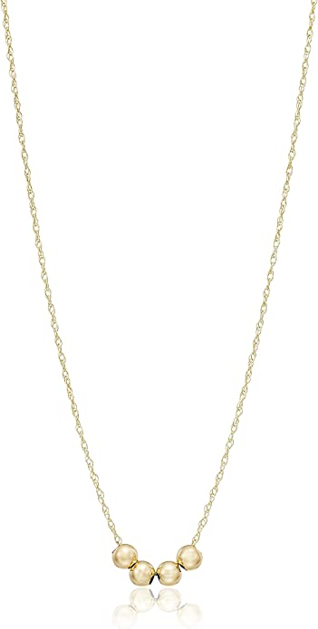 18-Inch Hamilton Gold Plated Necklace with 6mm Jet Birthstone Beads and Scroll Cross Charm.