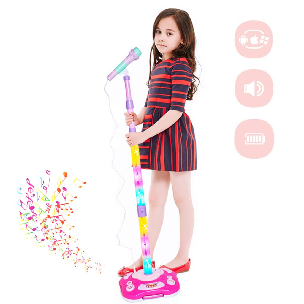 OceanEC Kids Karaoke Machine, Rechargeable Kids Karaoke Music Toy Play Set with Microphone and Stand, AUX Cable Connect to Your Electronic Devices for Music (Rechargeable Pink) by OceanEC (Image #1)