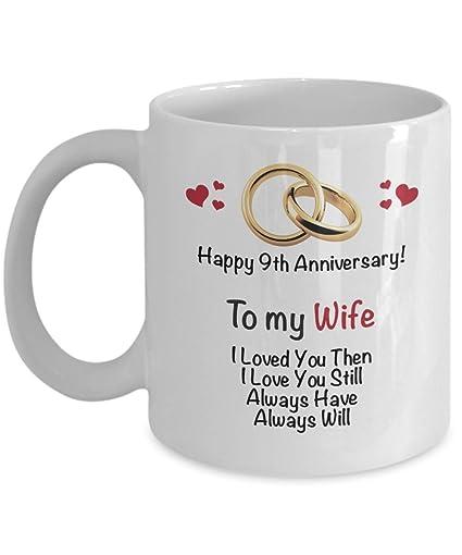 Amazoncom Happy 9th Anniversary Mug Wife 9 Year Wedding Coffee