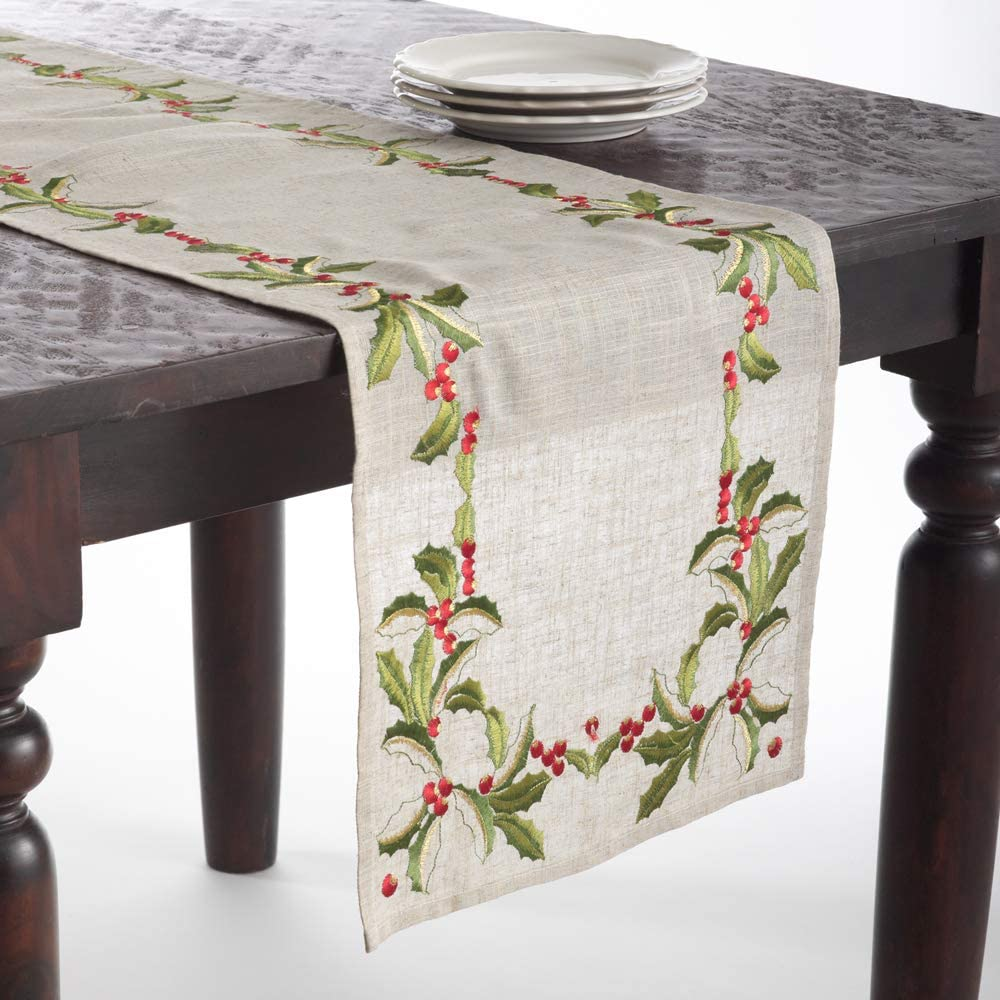 Fennco Styles Embroidered Holly Design Christmas Linen Blend Tablecloth - Natural Table Cover for Home Décor, Banquets, Holiday Gathering and Special Events