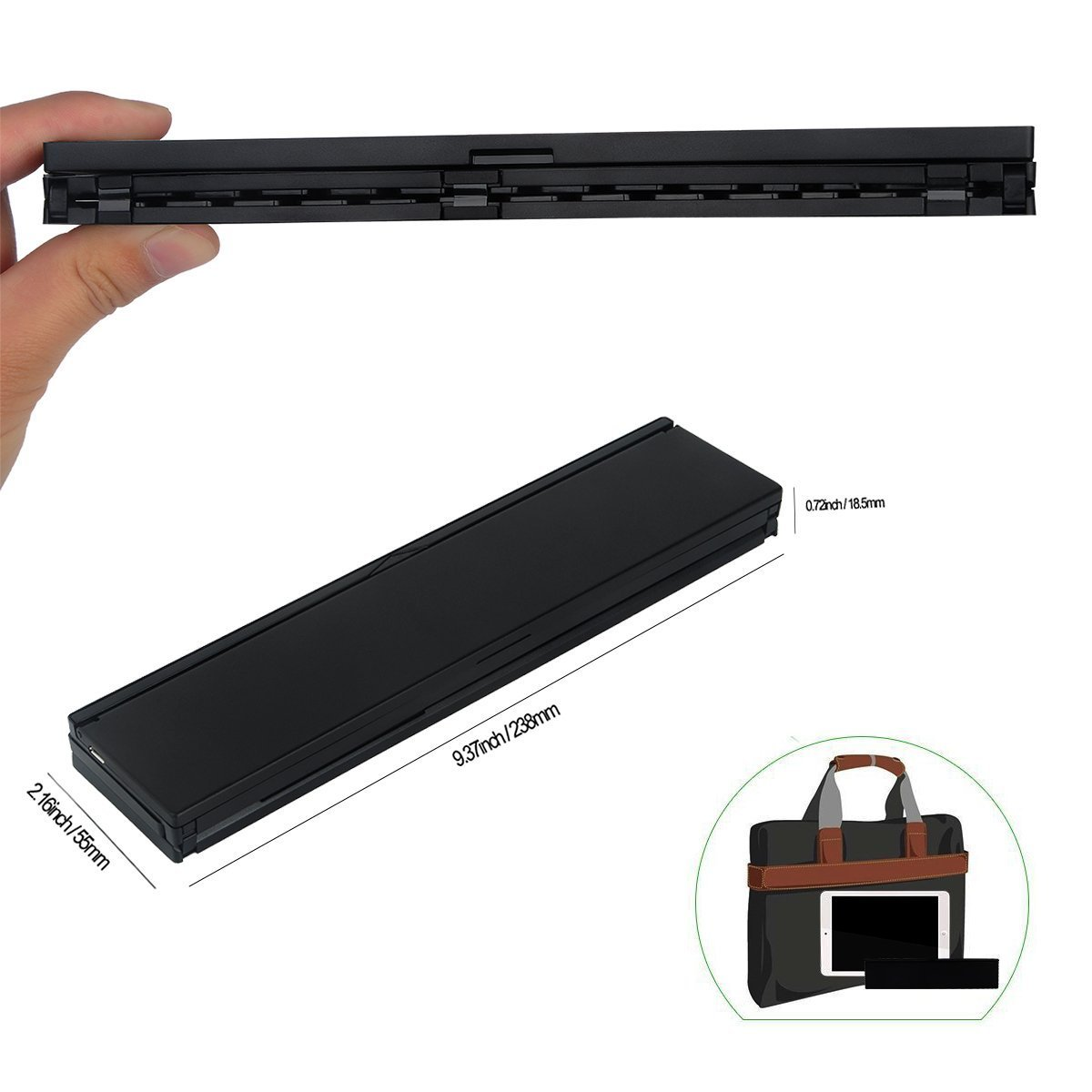 LEANINGTECH Portable Foldable Bluetooth Keyboard Aluminum Metal Collapsible Keypad with Kickstand Holder Phone Holder for iPhone, iPad, Samsung, Android, Windows Device-Black by LEANINGTECH (Image #3)