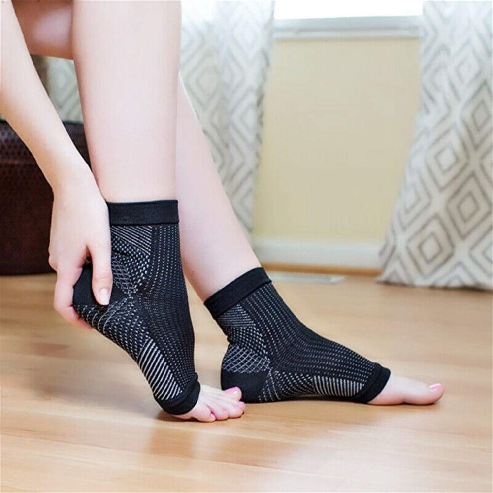 DIZHIGE Dr Sock Soothers Socks Vita Wear Copper Infused Magnetic Foot Support Compression Anti Fatigue Foot Sleeve Support Brace Sock for Plantar Fasciitis Achilles Ankle 3 pair pure black S//M
