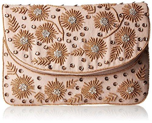 Handbag La Beaded Regale (La Regale Home Spun Beaded Floral Clutch, Natural, One Size)