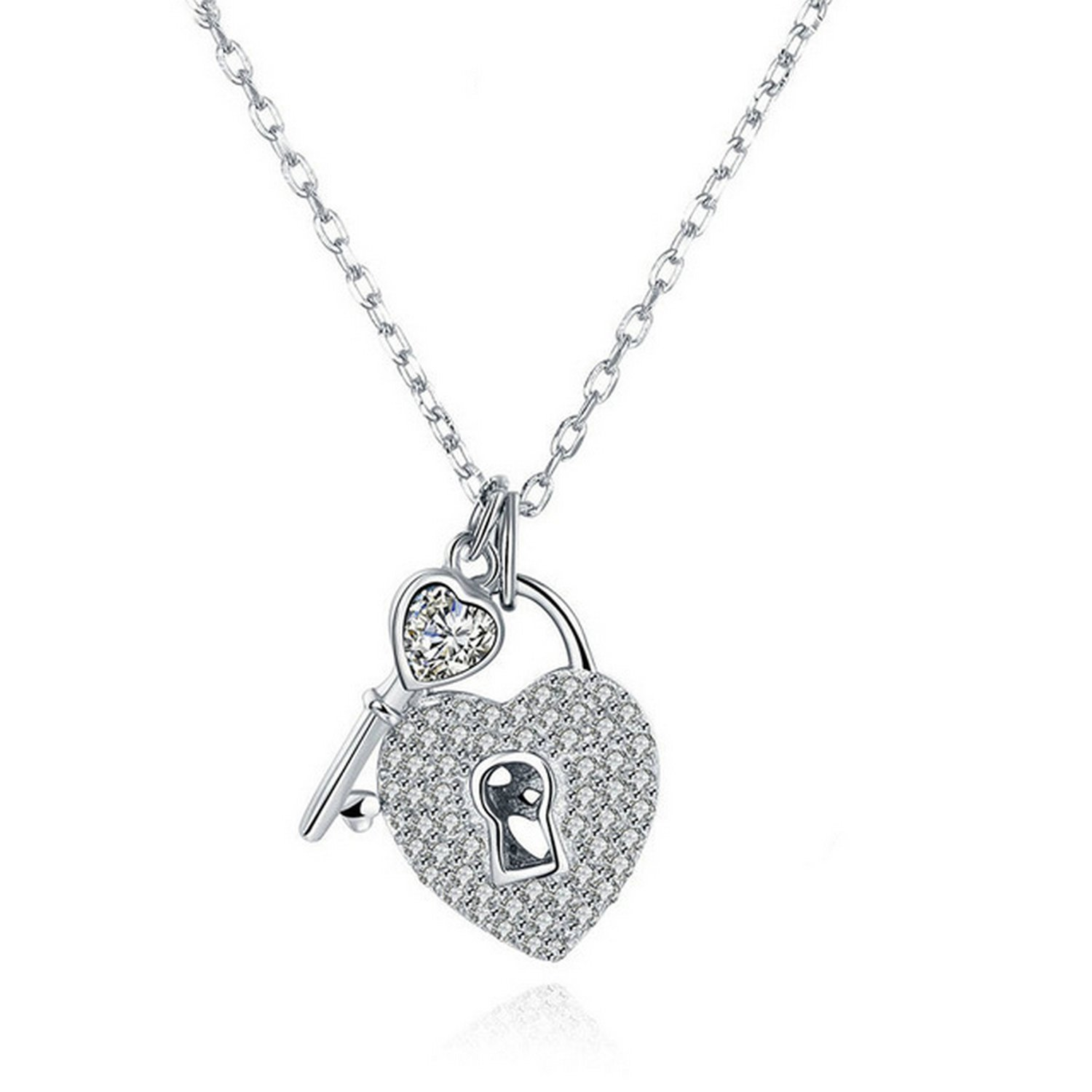 CS-DB Jewelry Silver Heart Lock Choker Sparkling Chain Charm Pendants Necklaces