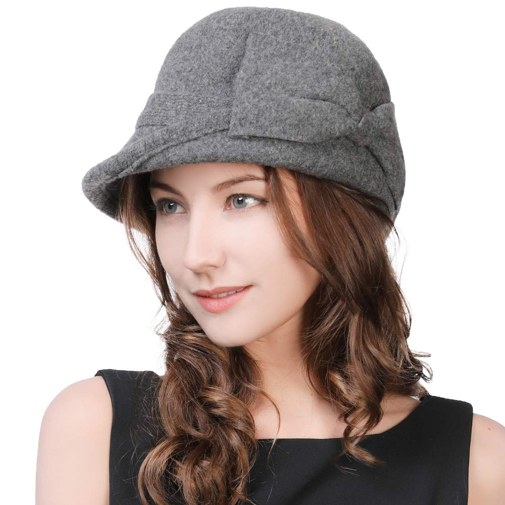Womens Wool Derby Party Hat 1920s Fedora Round Bucket Fall Felt Winter Beret Painter Cloche Grey
