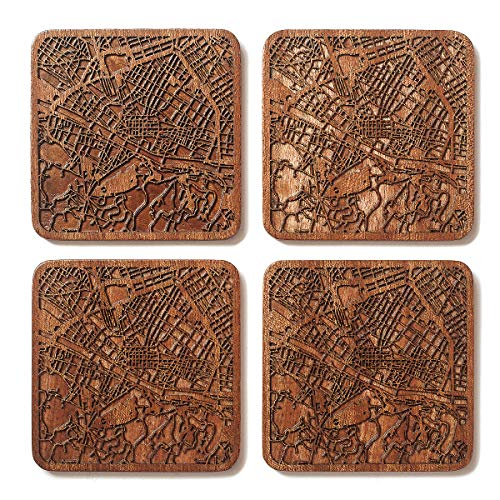 Firenze Map Coaster, Set of 4, Sapele Wooden Coaster with city map, Multiple city optional, Handmade
