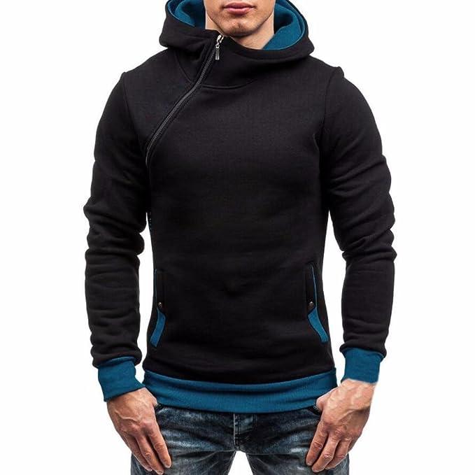 Landfox Sudadera con capucha con cremallera de manga larga de otoño para hombre (M,