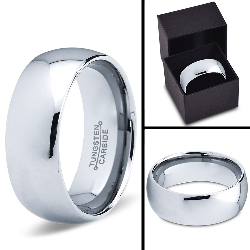 Charming Jewelers Tungsten Wedding Band Ring 7mm Men Women Comfort Fit 18k Yellow Gold Blue Grey Dome Polished