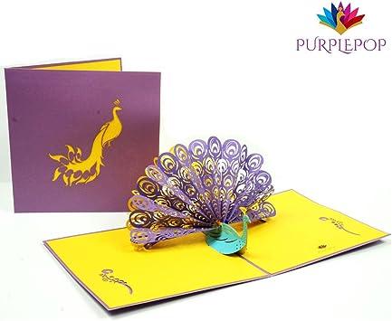 Amazon.com: purplepop pavo real 3d PopUp Tarjeta de ...