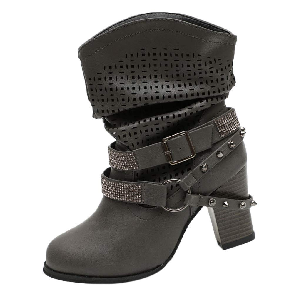 Londony ♪✿ Clearance Sales, Women's Hollow Out Fashion Slip On Motorcycle Boots Lace Up Mid Calf Buckle Booties