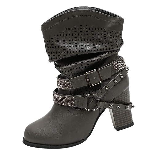 new style a496c e122f Ansenesna Stiefel Damen Leder Mit Absatz Elegant Schuhe ...