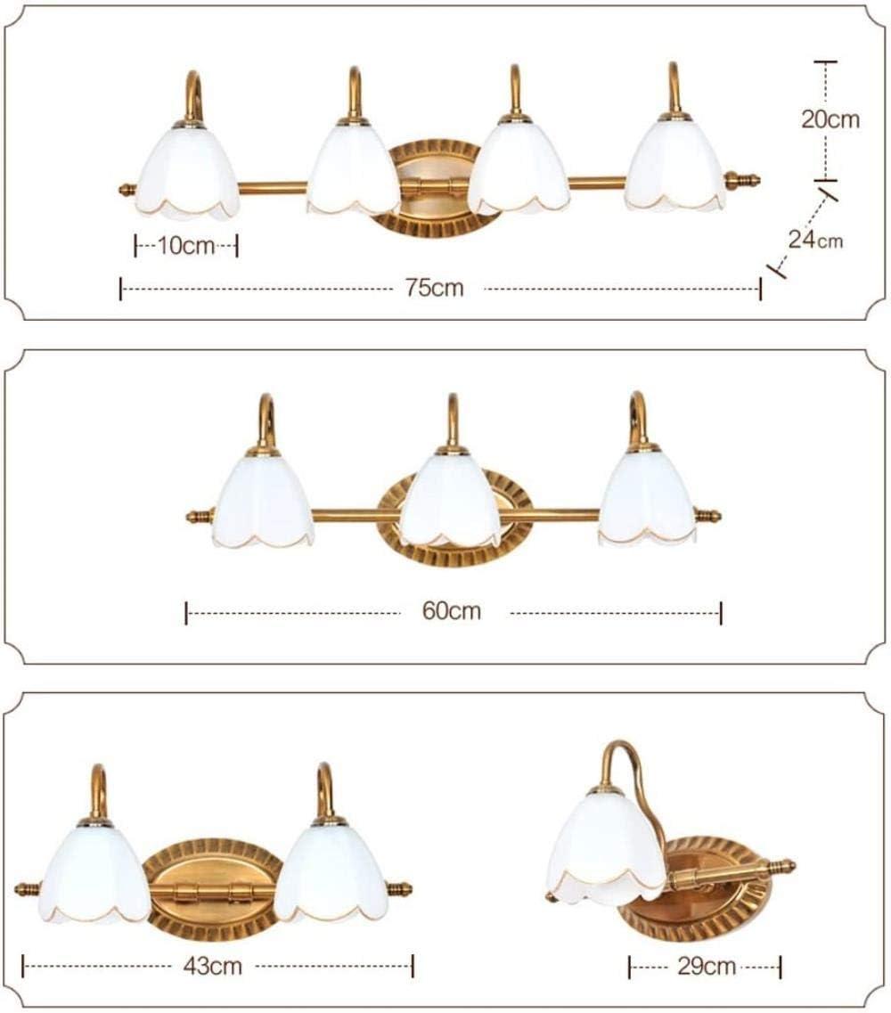 Americana dello Specchio del LED Anteriore Si Illumina Semplice da Bagno Europea Dresser Specchio di Trucco Fari (Colore: 1 a Testa), Colore: 4 Teste (Color : 4-Head) 4-head