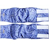 """Wegreeco Jeans Washable Male Dog Diapers (Pack of 2) - Washable Male Dog Belly Wrap (Large - 20""""- 25""""waist)"""