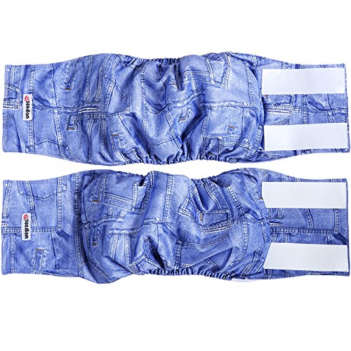 wegreeco Jeans Washable Male Dog Diapers (Pack of 2) - Washable Male Dog Belly Wrap (Large - 20