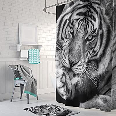 Gwein Black And White Of Wild Animals Tiger Home Decor Shower Curtain Polyester Fabric Mildew Proof Waterproof Cloth Room Curtains 66x72