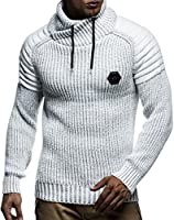 Leif Nelson Herren Strick-Pullover Schalkragen Slim Fit Winter Sommer Moderner Männer schwarzer Pulli T-Shirt Langarm mit...