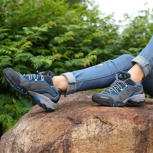 Chaussures de randonnée Chaussures de randonnée Bottes de randonnée respirant imperméable Trekking pour femme avec semelle antidérapant Amortissement caoutchouc Chaussures d'extérieur Grau- U2OXd