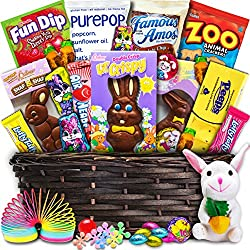 Deluxe Easter Basket (30ct) - Premade and Shrink-Wrapped, Kids, Boys, Girls - Filled with Candy, Chocolate, Toys, and More!!