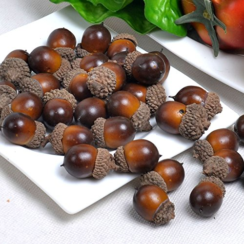 Gresorth 50pcs artificial lifelike simulation small acorn for Artificial fruit for decoration