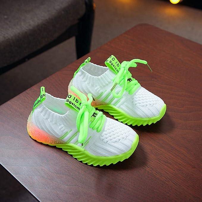 Zapatos De Deporte Casual para Niños Niños Bebé con Luces Zapatillas De Deporte Suaves con Cordones Zapatillas De Correr para Niños Zapatillas Unisex Niños (Verde, EU:28.5/Size(CN):29 17.5CM/6.9
