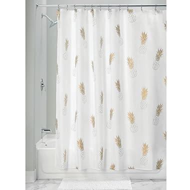 InterDesign Fabric Polyester Shower Curtain, 72  x 72  White Gold Pineapple