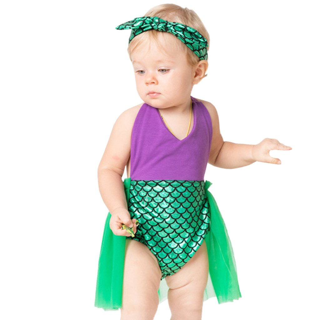 Vine Newborn Baby Photography Mermaid Sequins Romper Tutu Dress with Headband Vine Trading Co. Ltd K180711QZ001V