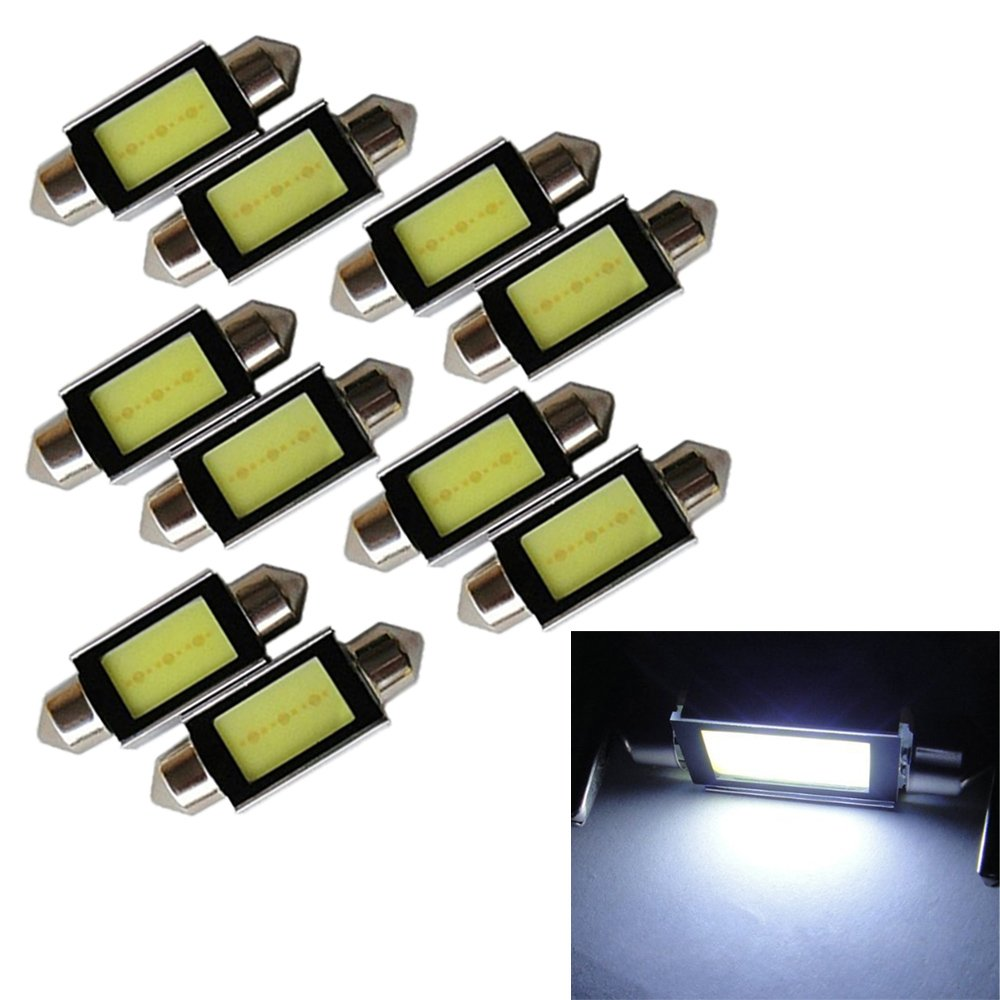 PolarLander 10pcs Lot Blanco 39MM COB 3W Festoon Dome Interior Coche LED Bombillas Error Libre