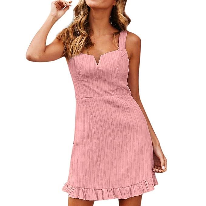 d7aca0923e TOPKEAL Vestido de Color Liso con Cuello en V para Mujer Midi Vestido  Ajustado del Lápiz sin Mangas Atractivo de Verano  Amazon.es  Ropa y  accesorios