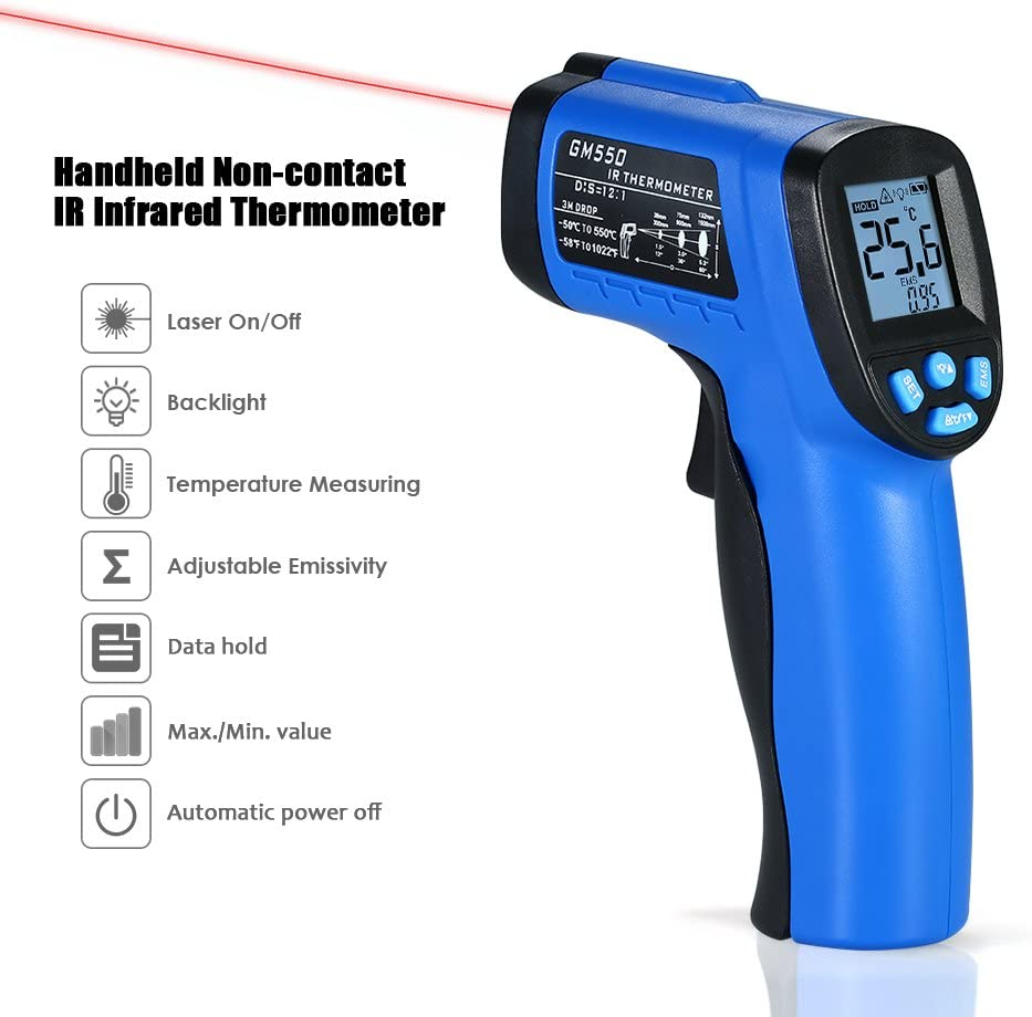 50~550℃ -58~1022℉ Handheld Non-Contact IR Infrared Thermometer 12:1 Digital Temperature Tester Pyrometer LCD Display with Backlight Centigrade Fahrenheit Adjustable Emissivity KKmoon