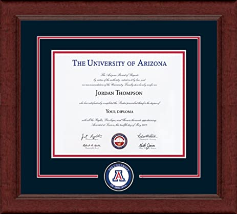 university of arizona diploma frame circle logo with navy - Diploma Frame Size