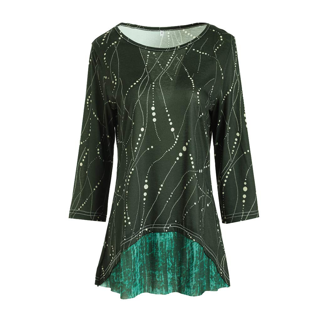 2020 Women Shirts Long 4//3 Sleeve Spring Fashion Print Round Neck Sequins Elbow Sleeve Sky Tunic Top T-Shirt Blouses