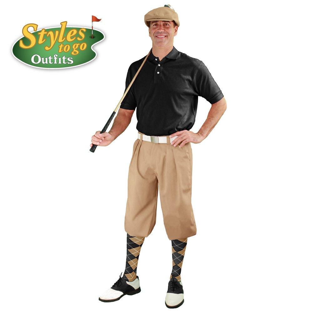 メンズゴルフOutfit – カーキ&ブラックゴルフKnicker Complete Outfit B06XMRS739 Shirt Size - Large|ウエストサイズ-42 ウエストサイズ-42 Shirt Size - Large