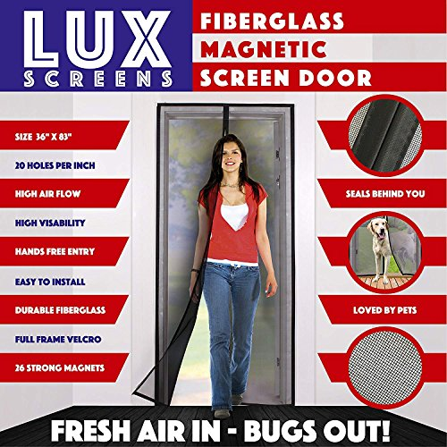 Magnetic Screen Door New 2017 Patent Pending Design Full Frame Velcro & Fiberglass Mesh Not Polyester This Instant Retractable Bug Screen Opens and Closes like Magic its the Last Screen Youll Need