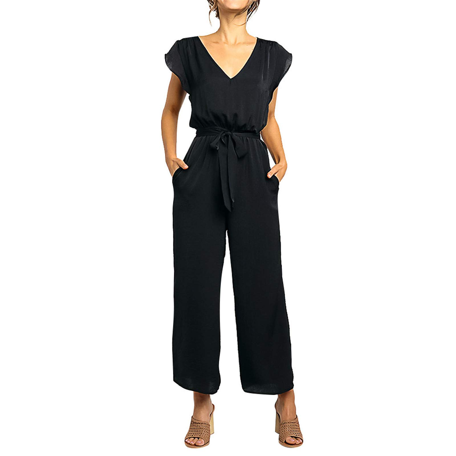 Thenxin Women Elegant Jumpsuit V Neck Flare Sleeve High Wasit Wide Leg Long Pants Rompers with Belt(Black,S) by Thenxin