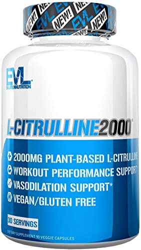 Evlution Nutrition L-Citrulline2000, Ultra-Pure Plant-Based Citrulline Supplement, Nitric Oxide, Pumps, Muscle Endurance and Vascularity, Powerful Workout Booster, Capsules 30 Servings